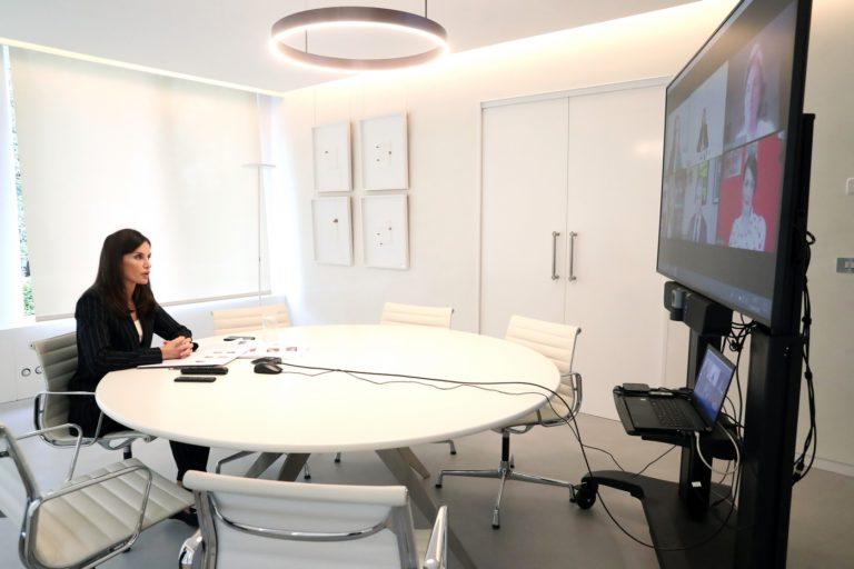 La vicepresidenta de la AGP se reúne por videoconferencia con la Reina Letizia